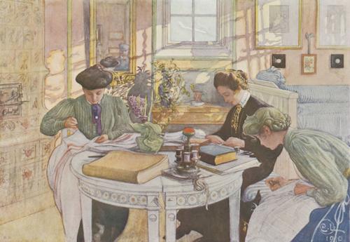 Läsrummet, Carl Larsson 1910